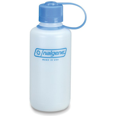 Nalgene 16 Ounce HDPE Narrow Mouth Bottle White with Blue Cap