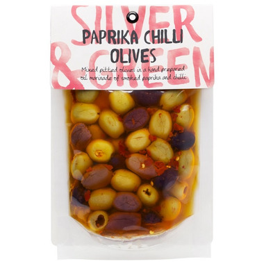 Silver & Green Pitted Paprika Chilli Olives