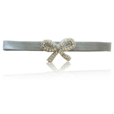 Olivia Rose Rhinestone Bow Headband Silver