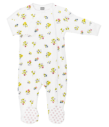 Kushies Side Zip Sleeper Little Garden White Print