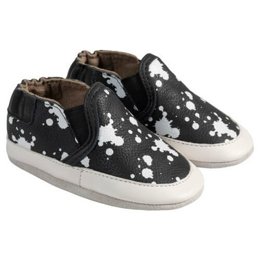 Robeez Soft Soles Liam Black & White Leather