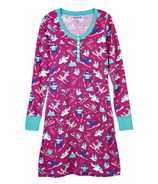 Hatley Little Blue House Long Sleeve Night Dress Retro Ski Dogs