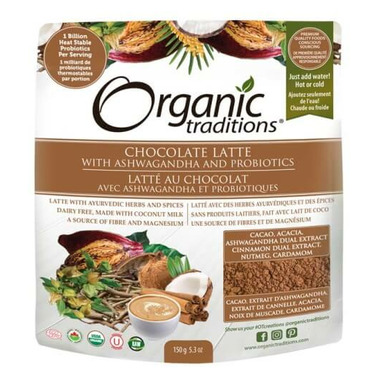 Organic Traditions Chocolate Latte with Ashwagandha and Probiotics
