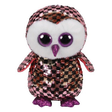 Ty Flippables Checks the Sequin Pink & Gold Owl Medium