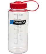 Nalgene 16 Ounce Wide Mouth Bottle Clear with Red Cap