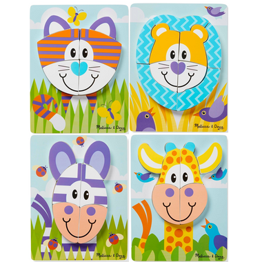 Melissa & Doug Safari Animals Wooden Chunky Jigsaw Puzzle Toddler