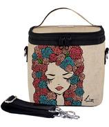 SoYoung X Pixopop Raw Linen Roses Girl Large Cooler Bag