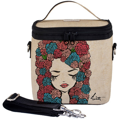 SoYoung X Pixopop Raw Linen Roses Girl Large Cooler Bag