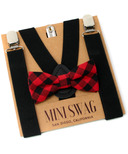 Mini Swag Buffalo Plaid Bow Tie & Black Suspenders Set