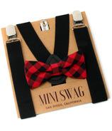 Mini Swag Buffalo Plaid Bow Tie & Black Suspenders Set