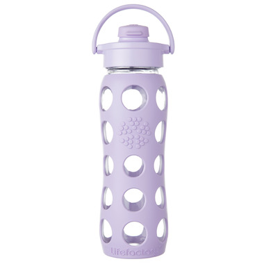 Lifefactory Glass Bottle Lilac Flip Cap & Silicone Sleeve