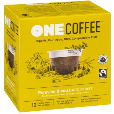OneCoffee Organic Single Serve Coffee Peruvian Blend Dark Roast