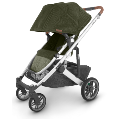UPPAbaby CRUZ V2 Stroller Hazel Olive Silver Saddle Leather