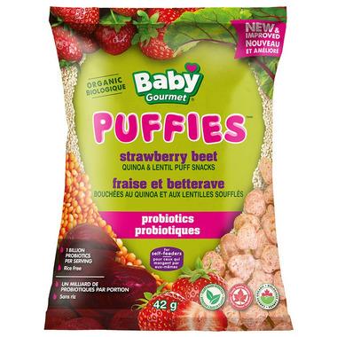 Baby Gourmet Puffies Probiotics Strawberry Beet Quinoa Puff Snacks