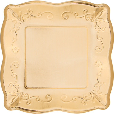 Elise Embossed Square Luncheon Plate Gold