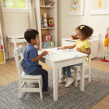 Melissa & Doug Solid Wood Table & Chairs Sturdy Wooden Construction