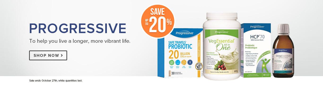 Save up to 20% off Progressive Vegegreens, Omegessentials, Protein & Probiotics