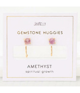 JaxKelly Gemstone Huggies Amethyst Earrings