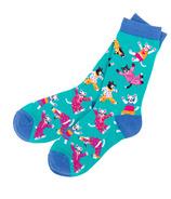 Hatley Little Blue House Women's Crew Socks Pajama Cats