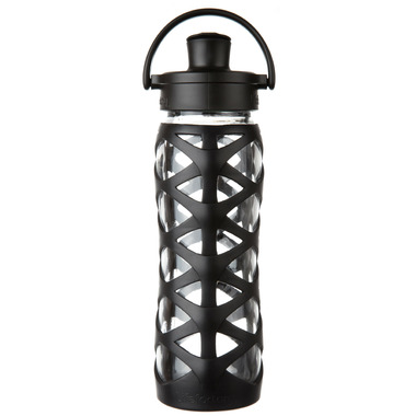 Lifefactory Glass Bottle with Active Flip Cap & Black Silicone Sleeve