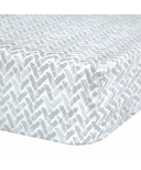 Perlimpinpin Fitted Crib Sheet Grey Chevron
