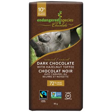 Endangered Species Natural Dark Chocolate Bar with Hazelnut Toffee