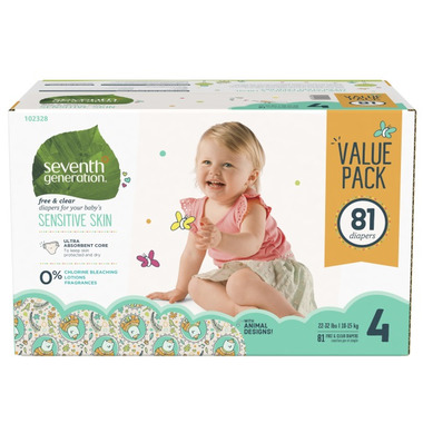Seventh Generation Free & Clear Baby Diapers with Animal Prints Mega Pack
