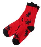 Hatley Little Blue House Women's Crew Socks Moose on Red