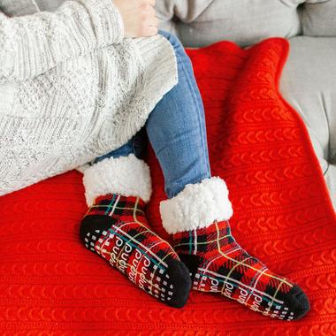 Pudus Classic Slipper Socks Christmas Grey