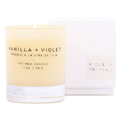 Paddywax Statement Ivory Violet + Vanilla Boxed Glass Candle