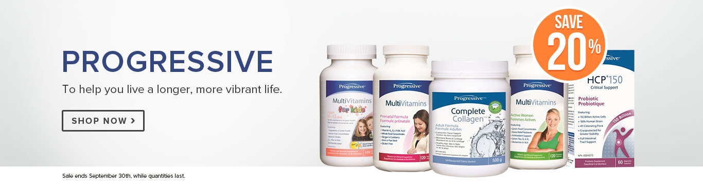 Save 20% on Progressive Vitamins