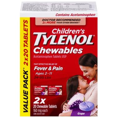 Tylenol Children\'s Chewable Tablets Grape Bonus Size