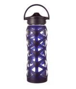 Lifefactory Glass Water Bottle with Axis Straw Cap & Aubergine Sleeve