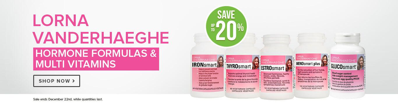 Save up to 20% on Lorna V Hormone Formulas & Multi Vitamins