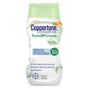 Coppertone Pure & Simple Sensitive Sunscreen Lotion Hypoallergenic SPF 50