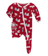 Kickee Pants Print Footie with Zipper Crimson Puppies & Presents