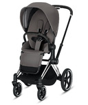 Cybex Priam Chrome Black Frame with Manhattan Grey Seat Pack