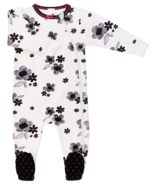 Kushies Side Zip Sleeper Black, White and Pink Print