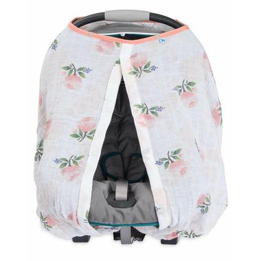 Little Unicorn Cotton Muslin Car Seat Canopy Watercolour Rose