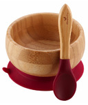 Avanchy Baby Organic Bamboo Stay Put Suction Bowl and Spoon Magenta