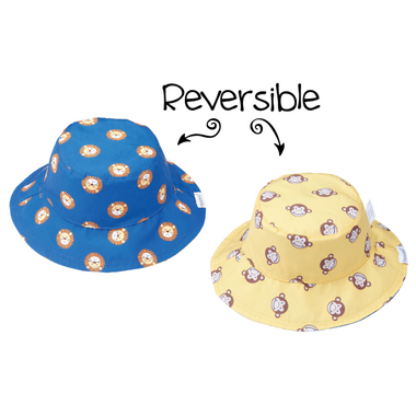 Flapjack Kids Reversible Baby Sun Hat Lion & Monkey
