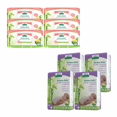 Aleva Naturals Bamboo Size NB Diaper and Sensitive Wipes Bundle