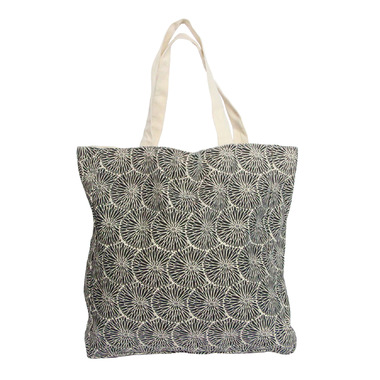 Silver Tree Black Canvas Shopping Bag
