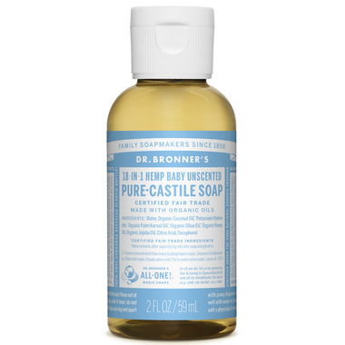 Dr. Bronner\'s Organic Pure Castile Liquid Soap Baby Unscented 2 Oz