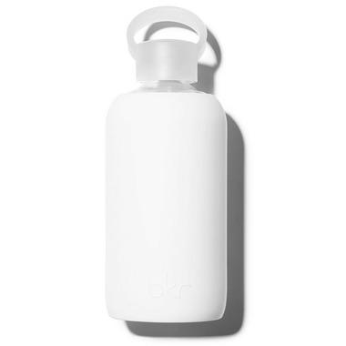 bkr Winter Glass Water Bottle Opaque White