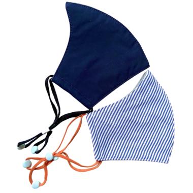 Happy 3-Layer Kid\'s Organic Cotton Face Masks Navy & Blue Stripe