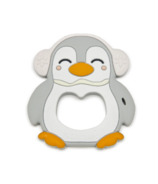 Loulou Lollipop Penguin Silicone Teether Grey Pink