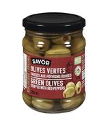 Olives vertes farcies aux poivrons rouges biologiques de Savor