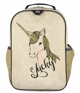 SoYoung Raw Linen Lucky Unicorn Grade School Backpack