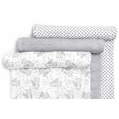 Snugabye Muslin Swaddles Dream Raccoon Collection